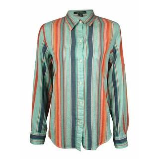 LRL Lauren Jeans Co. Women's Striped Gauze Cotton Buttoned Shirt - s
