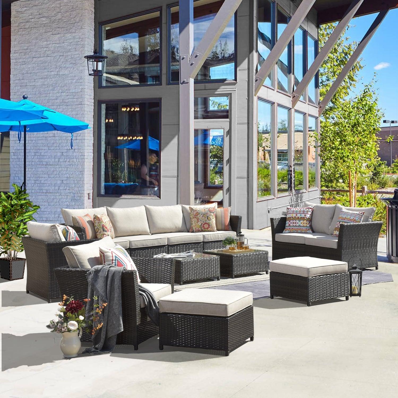 Ovios 12-piece Rattan Wicker Patio Outdoor Sectional Sofa  Set
