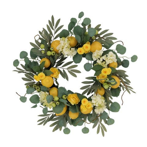 """24"""" Artificial Lemon And Hydrangea Floral Spring Wreath"""
