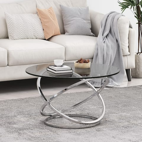"Silvia Modern Glass Top Round Coffee Table by Christopher Knight Home - 31.50"" L x 31.50"" W x 18.00"" H"