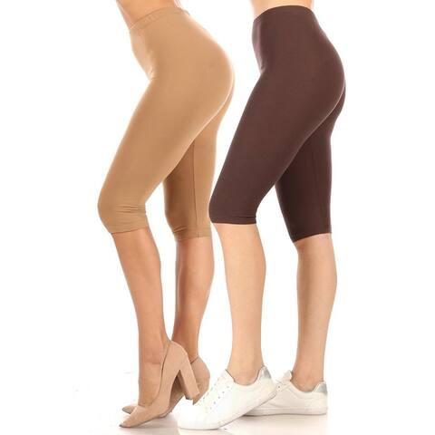 Women's Casual Solid Running Capri Leggings (Pack of 3)