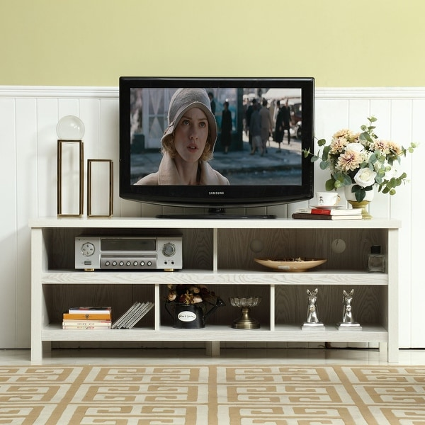 58-inch Mid-century Wood TV Console with Storage Cabinets. Opens flyout.