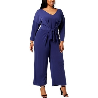 NY Collection Womens Plus Jumpsuit Tie-Waist Ankle