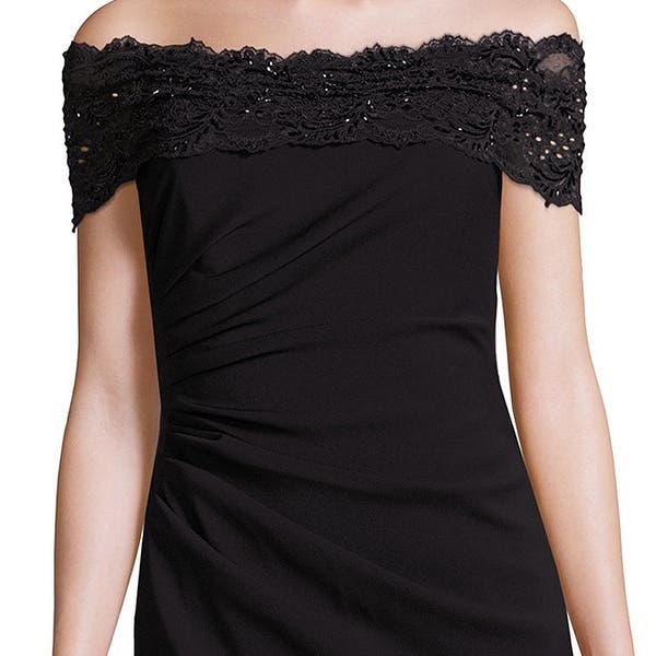 Shop Badgley Mischka Beaded Lace Off Shoulder Evening Gown