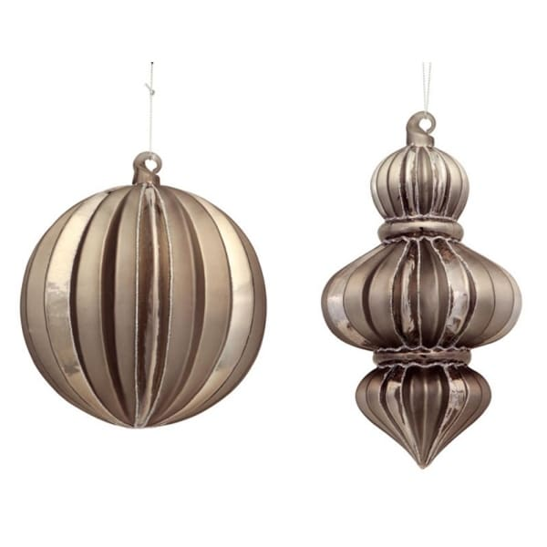 """Club Pack of 12 Bronze Colored Ribbed Ball and Finial Ornaments 8.5"""""""