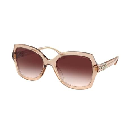 Coach HC8295 556113 56 Transparent Peach Woman Square Sunglasses