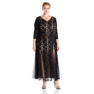 Alex Evenings Plus Size Sequined Lace Mermaid Evening Gown Dress Black/Nude