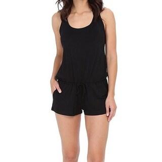 Becca NEW Black Womens Size Medium M Crochet Romper Cover-Up Swimwear
