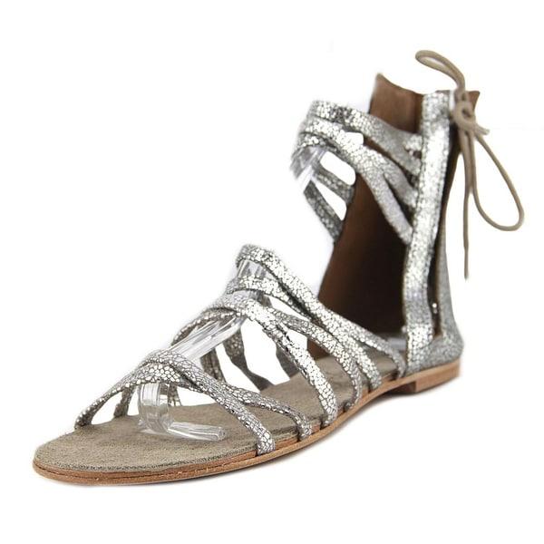 Free People Juliette Wrap Sandal Women Open Toe Leather Silver Gladiator Sandal