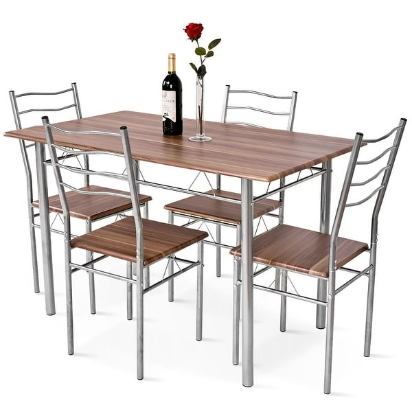 5 Piece Dining Set Table And 4 Chairs Wood Metal Kitchen: Shop Costway 5 Piece Dining Table Set Wood Metal Kitchen