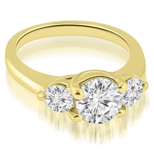 1.50 cttw. 14K Yellow Gold Low Set Trellis 3-Stone Round Diamond Engagement Ring