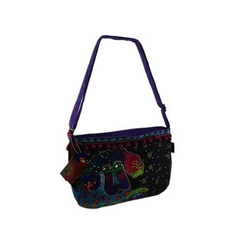 Laurel Burch Colorful Poodle and Pup Adjustable Crossbody Bag - Multicolored
