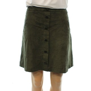 JOLT NEW Olive Green Faux-Suede Size 7 Junior A-Line Buttoned Skirt