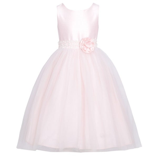 Sweet Kids Pink Dupioni Tulle Easter Dress Baby Toddler Girl 6M-3T