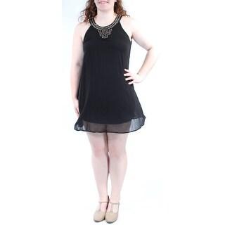 AS YOU WISH $68 Womens New 1104 Black Sleeveless Shift Dress Juniors XL B+B
