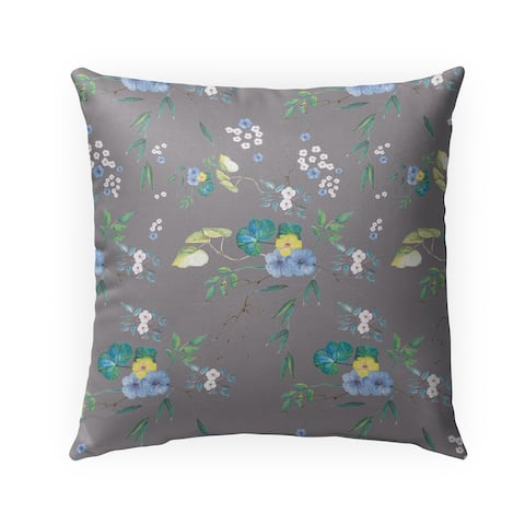 FLORAL GREY Indoor-Outdoor Pillow By Anne Cote