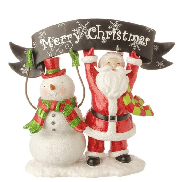 """10.5"""" Red and White Snowman and Santa Claus with """"Merry Christmas"""" Banner Table Top Decoration"""