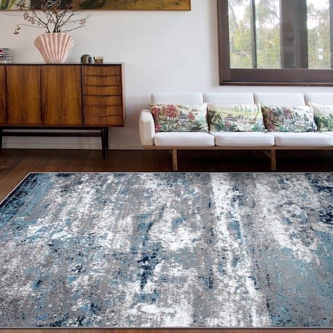 Distressed Abstract Watercolor Area Rug