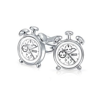 Bling Jewelry Round Vintage Style Alarm Clock Mens Cufflinks Rhodium Plated
