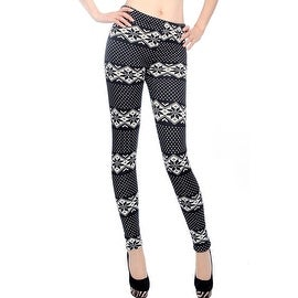 Womens Winter Warm Xmas Snowflake Reindeer Nordic Stretch Knitted Leggings Pants ONE SIZE