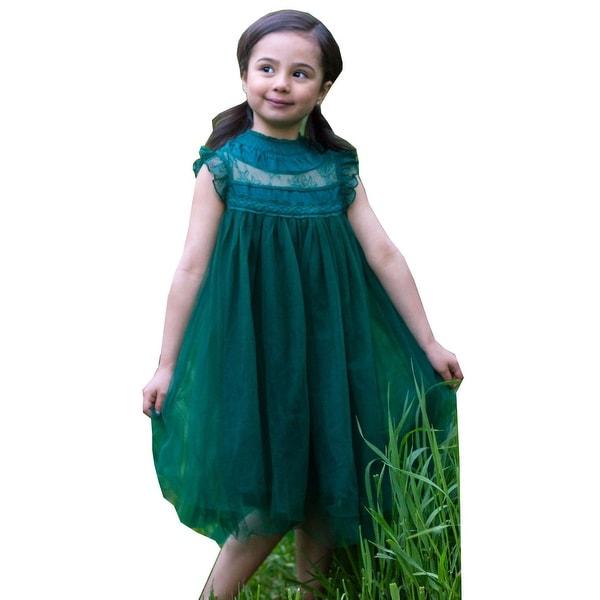 004bf8933062 Shop Girls Dark Green Lace Tulle Smock Tea-Length Magnolia Christmas ...