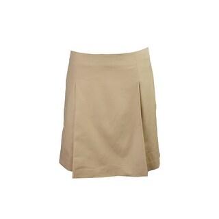 Lauren Ralph Lauren Tan Pleated Cotton A-Line Skirt