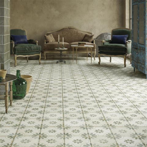 SomerTile 17.63 in. x 17.63 in. Royals Blume Sage Ceramic Floor and Wall Tile