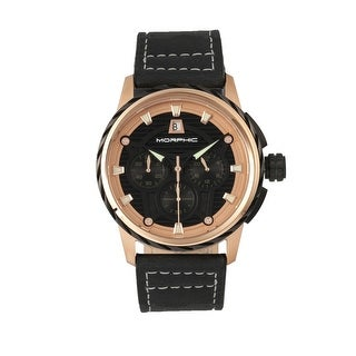 Morphic M61 Series Men's Quartz Chronograph Watch, Genuine Leather Band, Luminous Hands