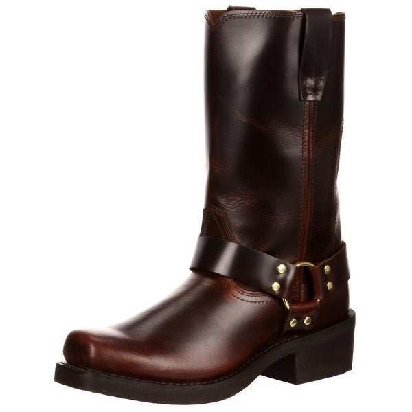"Durango Motorcycle Boots Mens 11"" Harness Leather Rubbed Brown"
