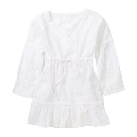 Azul Little Girls White Ruffle Hem Long Sleeve Cotton Shanti Cover Up Tunic