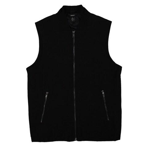 INC Solid Deep Black Mens Size 2XL Full-Zip Sleeveless Vest Jacket