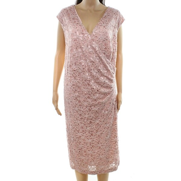 Connected Apparel Pink Womens Size 20W Plus Sequin Sheath Dress