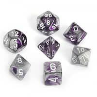 Chessex Gemini Purple And Steel With White Polyhedral 7 Dice Set
