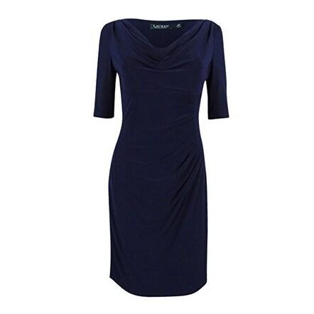 27b7a115e0 Shop Ralph Lauren Lauren Women's Cowl Neck Jersey Dress, Navy, 4 - Free  Shipping On Orders Over $45 - Overstock - 19829721