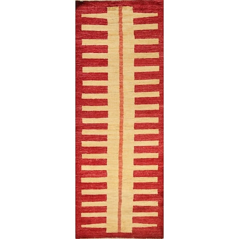"Geometric Gabbeh Kashkoli Oriental Runner Rug Handmade Wool Carpet - 2'10"" x 8'0"""