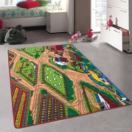 "Allstar Kids / Baby Room Area Rug. Farm / Farmer Landscape. Bright Colorful Vibrant Colors (3' 3"" x 4' 10"")"