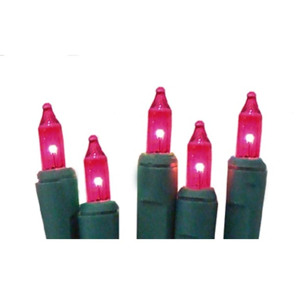set of 10 battery operated pink mini christmas lights green wire