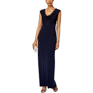 Connected Apparel Womens Petites Evening Dress Lace Sequined