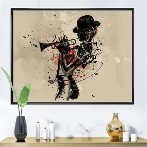 Designart 'Woman Playing Jazz Trumpet' Modern Framed Canvas Wall Art Print