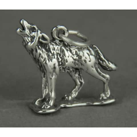 Sterling Silver Howling Wolf Pendant Charm - 0.5 X 0.63 X 0.13 inches