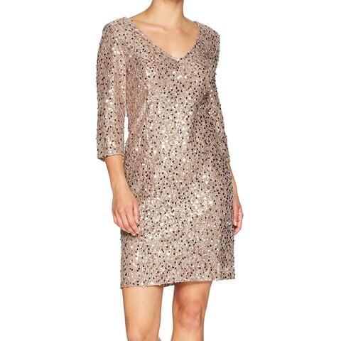 Alex Evenings Sequin Lace V-Neck Women's Shift Dress