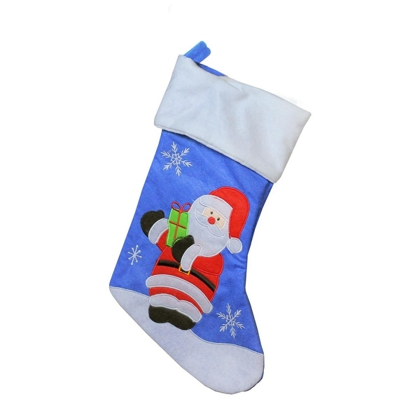 """15"""" Blue, Red and White Embroidered Santa Claus Christmas Stocking with White Cuff"""