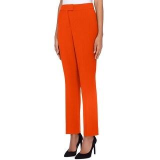Tahari by ASL Burnt Orange Women Size 2 Flat-Front Crepe Dress Pants