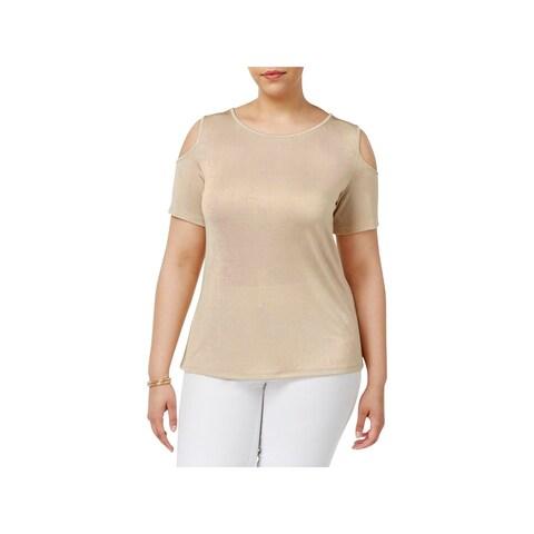 Calvin Klein Womens Plus Casual Top Metallic Cold Shoulder - 3x