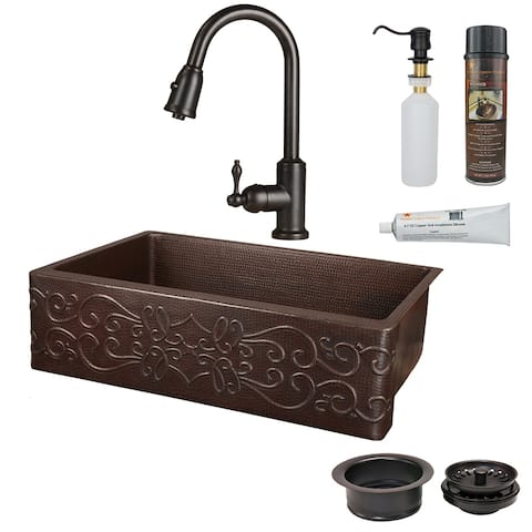 Premier Copper Products KSP2_KASDB33229S Kitchen Sink, Pull Down Faucet and Accessories Package