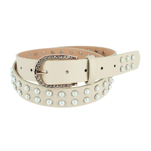 CTM® Women's Pearl Studded Belt with Rhinestone Buckle - one size
