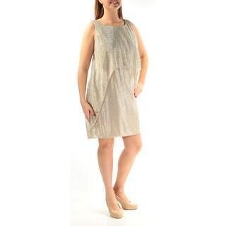 SLNY $99 Womens New 1262 Gold Jewel Neck Sleeveless Mini Sheath Dress 12 B+B