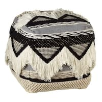 "18"" Black and White Hand Woven Geometric Square Pouf with Fringe Ottoman"