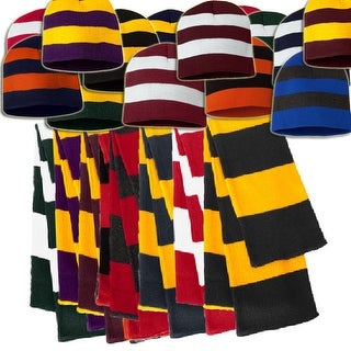 Knit Collegiate Rugby Striped Winter Scarf & Beanie Hat Set