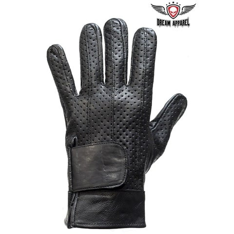 Full Finger Leather Motorcycle Gloves With Gel Pads - Size - M